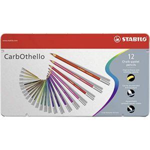 Stabilo Crayon de couleur CarbOthello - Boîte métal de 12 crayons fusains pastels - Coloris assortis
