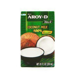 Aroy-D Lot de 6 Lait de coco [6x 250 ml] Lait de coco ~ Lait de coco