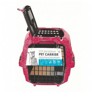 M pets MPETS Cage de transport Bandana- Pour chien - 46x31x23cm - Rose - Cage légére, solide et facile à nettoyer