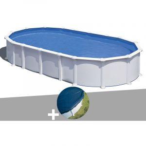 Gre Kit piscine acier blanc Atlantis ovale 7,44 x 3,99 x 1,32 m + Bâche hiver