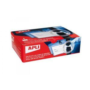 APLI 11744 - Boîte de 25 porte-badges 90 x 56 mm, avec lacet de sécurité
