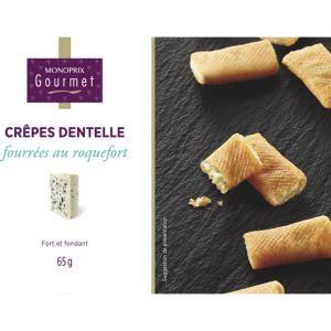 Monoprix gourmet Crêpes dentelles fourrées au roquefort - La boîte de 65g