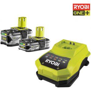 Ryobi One+ RBC18LL415 - Pack 2 Batteries Lithium-Ion 18V 1,5 Ah et 4,0 Ah + Chargeur