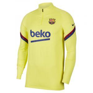 Nike FC Barcelone Maillot d'Entraînement Dry Strike Drill - Jaune/Bleu Marine - Jaune - Taille Small