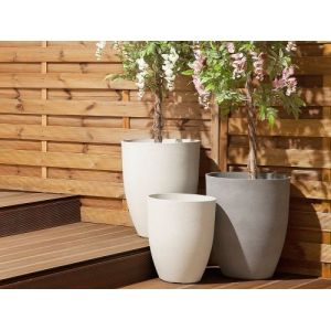 Beliani Cache-pot blanc de forme ronde CROTON
