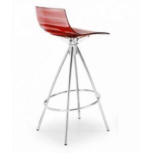 Inside75 Chaise de bar design l'EAU rouge transparente