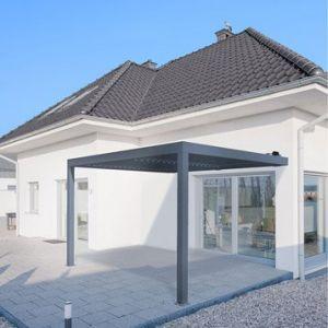 Pergola Orient 12 m² adossée en aluminium gris anthracite