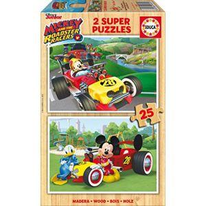 Educa Mickey et ses amis : Top départ - Puzzle en bois 2 x 25 pièces