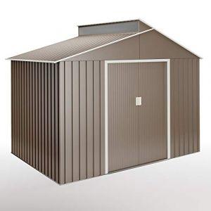 Hoggar Lättsta 5,44m2 abris de jardin - Tole galvanisée - 257 x 282 x 222 cm - Porte de 120 cm - Avec lucarne en polycarbonate