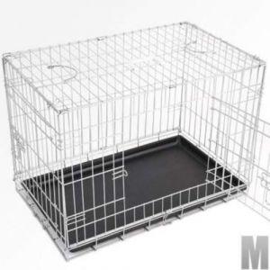 Cage pour chien 2 portes pliable en métal et transportable avec poignées 74,5/44/51 cm
