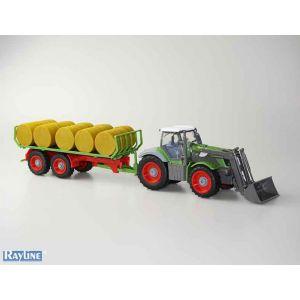 RayLine Jouetprive - Tracteur radiocommandé avec remorque agricole