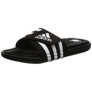Adidas Adissage, Tongs piscine homme,Noir/Noir/Blanc, 38 EU