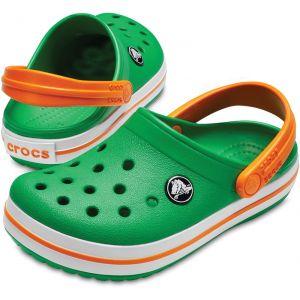 Crocs Crocband Clog, Sabots Mixte Enfant - Vert (Grass Green/White/Blazing Orange), 33-34 EU (J2 UK)