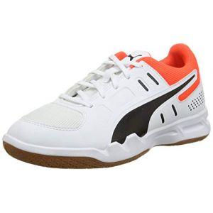 Puma Chaussure Basket Auriz Youth pour Enfant, Blanc/Noir/Rouge, Taille 29