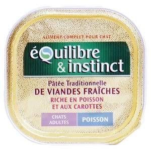 Equilibre et Instinct Boîte Adulte pour chats Saveur Poisson et Carottes 16 Barquettes de 100 g