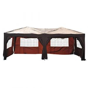 Outsunny Tonnelle barnum pliant pop-up imperméabilisé 6L x 3l x 2,55H m 6 parois latérales amovibles 4 fenêtres + sac de transport marron