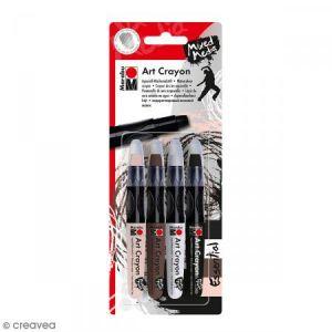 Marabu Crayon cire aquarelle - Art Crayon - Essential - 4 pcs
