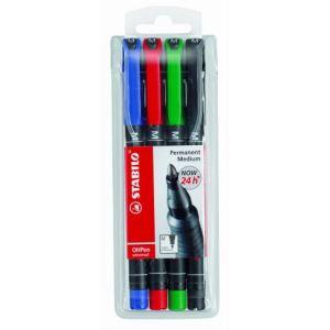 Stabilo 4 stylos feutre OHPen pointe moyenne assortis (1 mm)