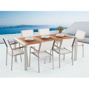 Beliani Ensemble de jardin table 180 cm et 6 chaises blanches Grosseto