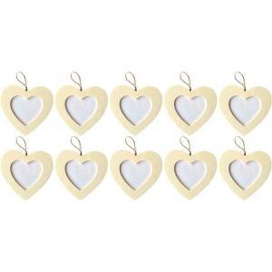 PW International Cadres cœur à suspendre, en bois - Lot de 10