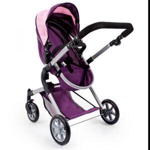 Bayer Landau pour poupée Neo Star prune et rose avec sac à bandoulière et panier d'achat intégré réglable - convertible poussette