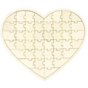 Cœur Puzzle en Bois 4 Pièces