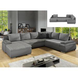 Canapé d'angle panoramique convertible et réversible en simili et tissu DAKOTA Gris