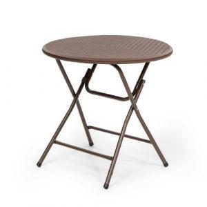 Blumfeldt Burgos Round Table de jardin pliante Ø 80cm polyrotin marron