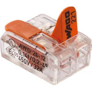Wago Borne de raccordement avec levier 2x0.2 à 4mm²