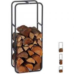 Relaxdays Etagère de Cheminée étagère à bûches Bois acier bois porte-bûches range buche 100 x 40 cm, anthracite