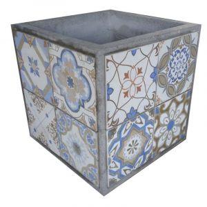 Ma Maison Mes Tendances Cache-pot carré en carreaux de ciment bleu et gris 43cm EVORA - L 43 x l 43 x H 43