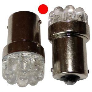 Aerzetix : 2x ampoule 24V P21W R10W R5W 9LED rouge pour camion semi-remorque porte de garage portail