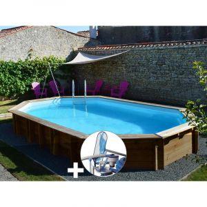 Sunbay Kit piscine bois Safran 6,37 x 4,12 x 1,33 m + Kit d'entretien
