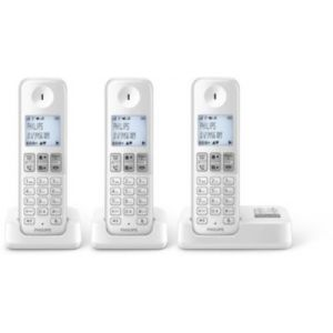 Philips D2353W/FR Trio - Téléphone sans fil avec répondeur 3 combinés