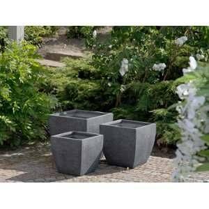 Beliani Lot de 3 cache-pots gris Oricos