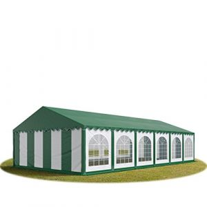 Intent24 Tente Barnum de Réception 6x12 m PREMIUM Bâches Amovibles PVC 500 g/m² vert-blanc + Cadre de Sol Jardin.FR