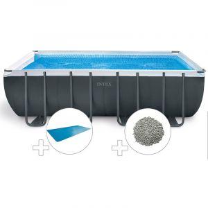 Intex Kit piscine tubulaire Ultra XTR Frame rectangulaire 5,49 x 2,74 x 1,32 m + Bâche à bulles + 20 kg de zéolite