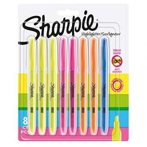 Sharpie Surligneurs de poche, pointe biseautée, assortiment de couleurs fluorescentes, lot de 8