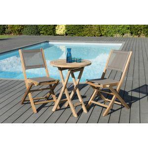 Macabane 1 table ronde pliante 60 x 60 cm - Lot de 2 chaises pliantes en textilène, couleur taupe - 1 table ronde pliante 60 x 60 cm, référence 500983 - Lot de 2 chaises pliantes en textilène, couleur taupe