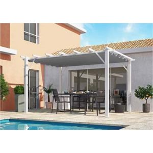 Foresta Habrita - Pergola en aluminium blanc 100x100 mm ép.1,2 mm toiture gris 280 gr/m2 - PER4030WN