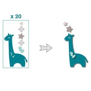Toga Pack de 20 Formes découpées Girafes - Bleu et taupe