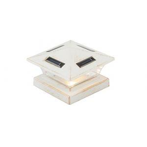 Globo Lampadaire solaire sur pied LED blanc antique pour poteau de barrière de jardin allumant une lampe sur pied 33038
