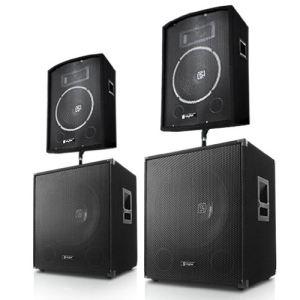 Skytec Pack Sono DJ + 2x enceinte + 2x Subwoofer 46cm 1000W