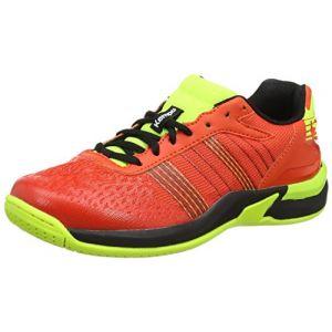 Kettler Kempa Attack Contender Junior, Chaussures de Handball Mixte Enfant, Rouge (Rouge Rouge Tomate/Noir/Jaune Fluo Rouge Rouge Tomate/Noir/Jaune Fluo), 34 EU