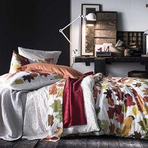 Essix Housse de couette 100% percale de coton motif feuille d'automne et losange TRESORS 260x240cm