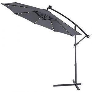 Deuba Kingsleeve | Parasol déporté en Aluminium • Ø3,3m • Anthracite • Mali • éclairage 32 LED • Lampe Solaire • Protection, manivelle, Jardin, terrasse, Balcon, Soleil