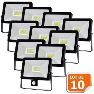 Lampesecoenergie Lot de 10 Projecteur LED 50W Detecteur Mouvement Classic Noir 6000K