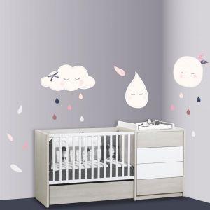 Sauthon Stickers chambre bébé xxl lune miss chipie