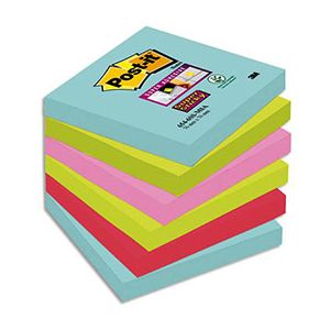 Post-It Miami Super Sticky 76 x 76 mm - Bloc de 90 notes couleurs - Lot de 12