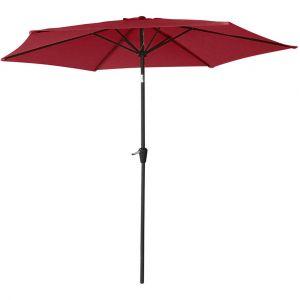 Happy Garden Parasol Droit HAPUNA Rond 2,70m de diamètre Rouge